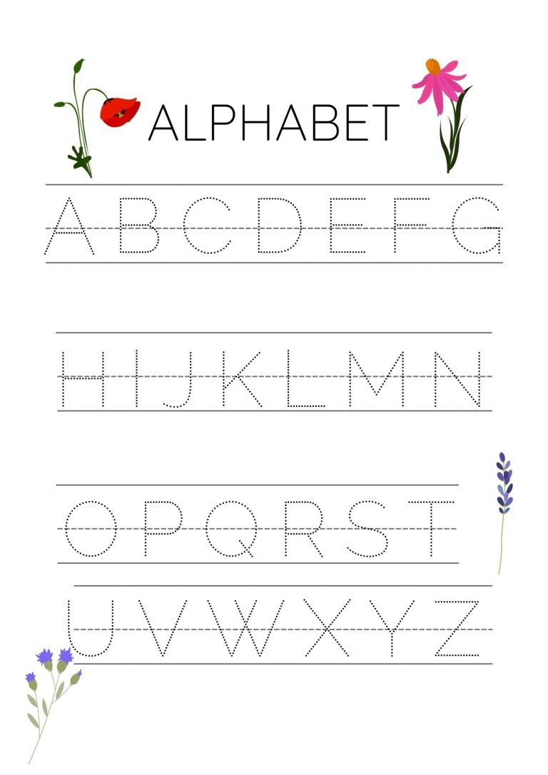 letter tracing sheet